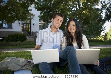 Diverse College Students Studying together