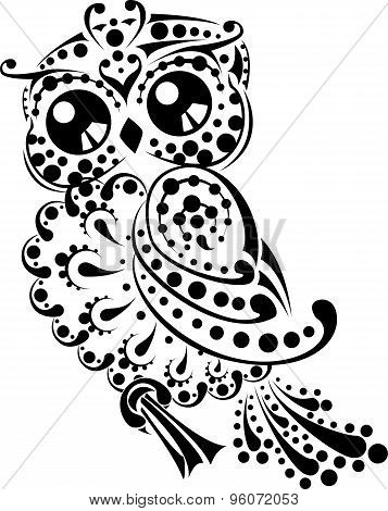 Pretty floral owl for tribal tattoo