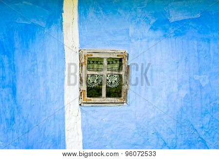 Blue Wall With Small Window