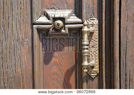 Abstract  House  Door     In Italy  Lombardy     Closed  Nail Rusty