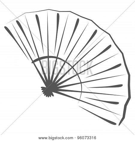 Sketched folding fan.