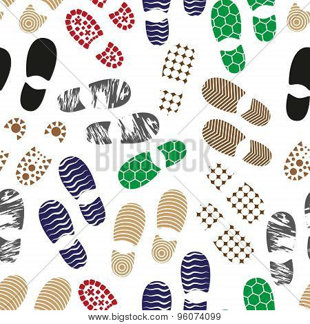 Color Human Shoes Footprint Various Sole Seamless Pattern Eps10