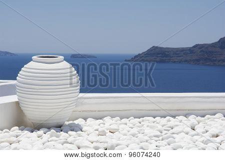 White jar, decoration detail. Santorini.