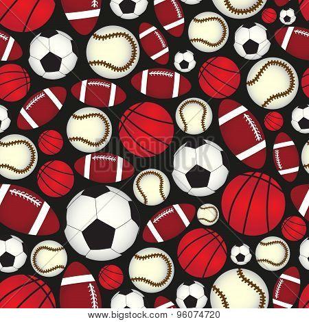 Various Sport Balls Seamless Color Black Pattern Eps10