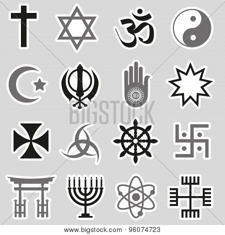 World Religions Symbols Vector Set Of Stickers Eps10