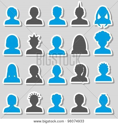Men And Women Head Simple Avatar Stickers Set Eps10