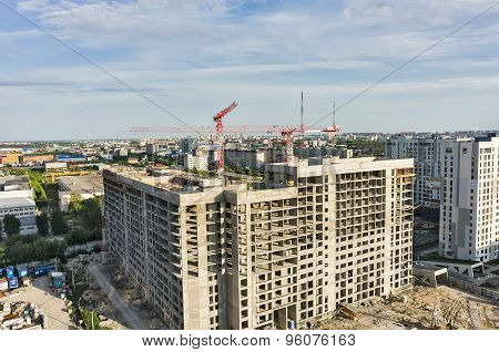 Construction site of residential house in Tyumen