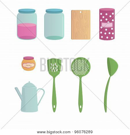 Kitchenware cartoon set with nine objects.