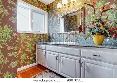 Coloful Bathroom With Floral Walls And White Hints.