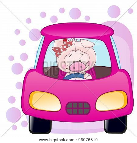 Pig Girl In A Car