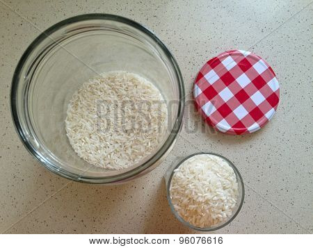 White Rice In An Open Large Glass Jar