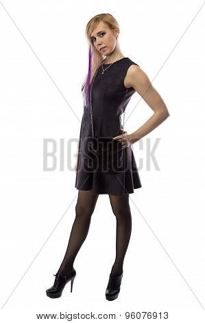 Photo woman in artificial suede dress, half turned