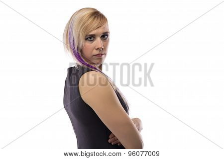 Woman in artificial suede dress, half turned