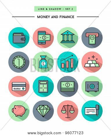 Set Of Flat Design,long Shadow, Thin Line Money And Finance Icons