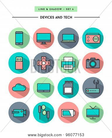 Set Of Flat Design,long Shadow, Thin Line Devices And Tech Icons