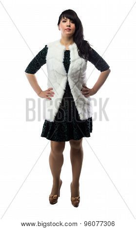 Photo of pudgy woman in white fur jacket
