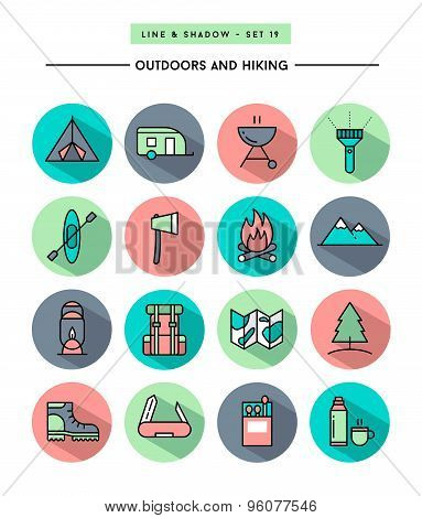 Set Of Flat Design,long Shadow, Thin Line Hiking And Outdoors Icons