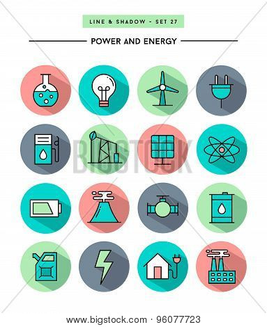 Set Of Flat Design,long Shadow, Thin Line Power And Energy Icons