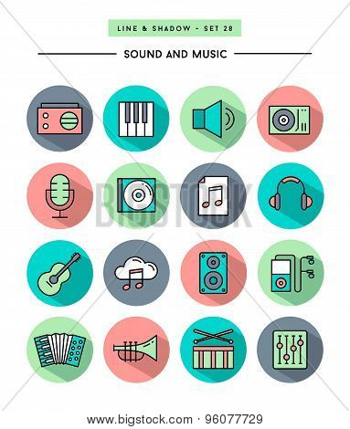 Set Of Flat Design,long Shadow, Thin Line Sound And Music Icons
