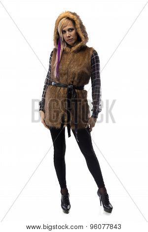 Photo of blonde in brown fur jacket
