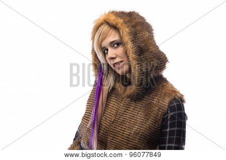 Photo of blonde in brown fur jacket with hood