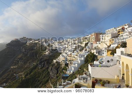 Panoramic view of Fira, Santorini, Greece.