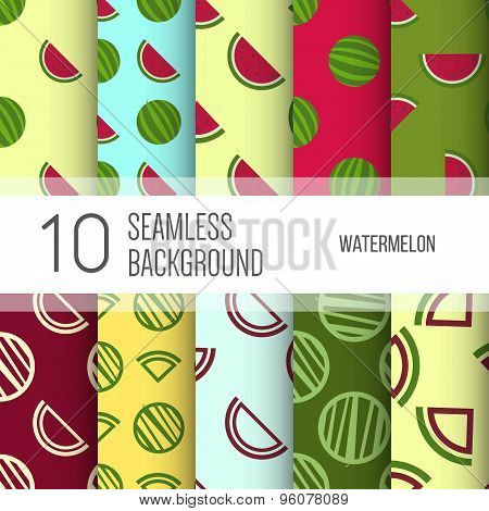 10 Seamless Backgrounds Or Patterns With Watermelon.