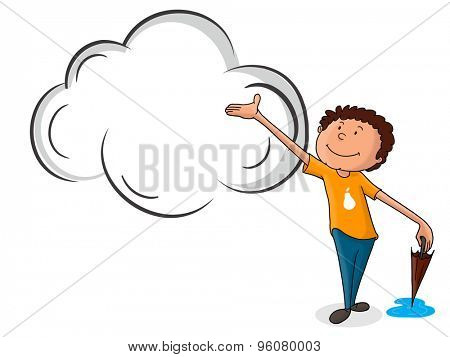 Cute little boy holding closed umbrella and waiting for rain on shiny background for Monsoon Season concept.