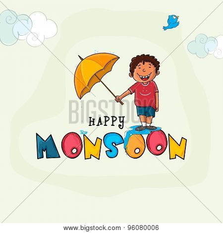 Cute little boy holding umbrella for Happy Monsoon Season.