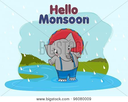 Cute elephant standing with umbrella in a rainy day on nature background for Happy Monsoon Season.