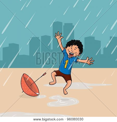 Cute little boy dancing and enjoying rainy day with umbrella on urban city background.