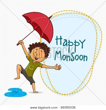 Cute little boy holding an umbrella and enjoying Happy Monsoon Season on grey background.