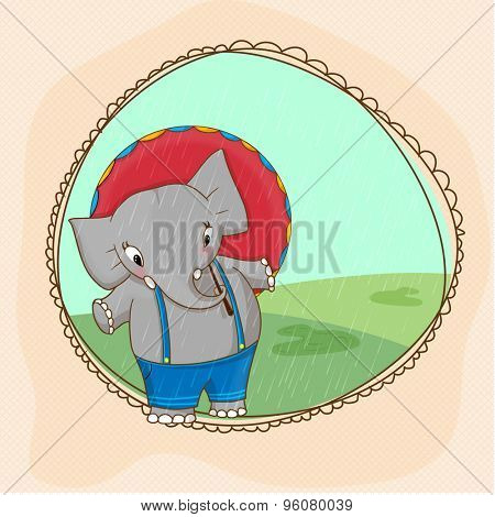 Cute elephant holding umbrella in a rainy day, Stylish frame for Monsoon Season concept.
