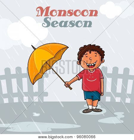 Cute little boy holding an open umbrella and standing in rains on grey background for Monsoon Season concept.