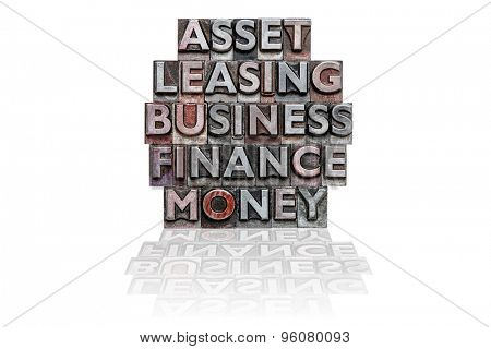 The words ASSET, LEASING, BUSINESS, FINANCE and MONEY in a stack made from old metal letterpress on a white background.