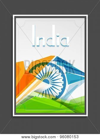 Creative template, banner or flyer decorated with Ashoka Wheel and national flag color abstract design for Indian Independence Day celebration.