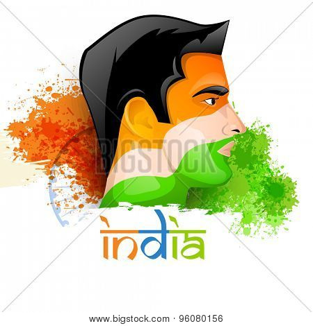 Illustration of a young man face painted in national flag colors on Ashoka Wheel and splash background for Indian Independence Day celebration.