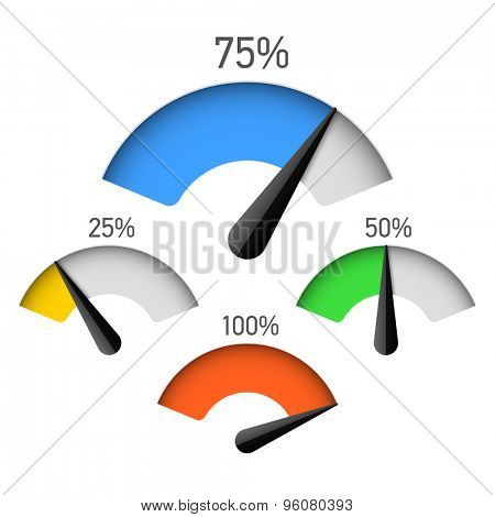 Infographic gauge chart element with percentage vector illustration
