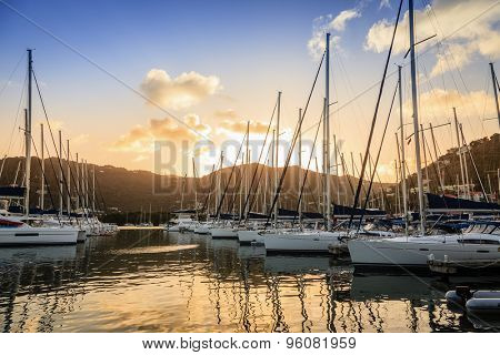 Sailboats at a marina on Tortola in British Virgin Islands