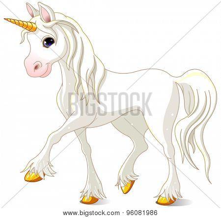 Illustration of walking beautiful white unicorn