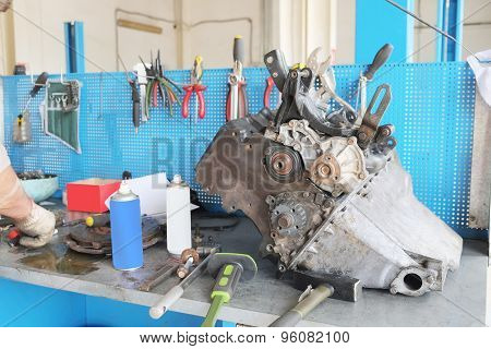 Working place at a repair garage
