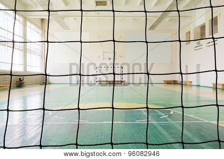Veiw to a sport hall from a football gate's set