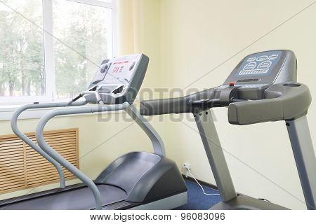 treadmill in a fitness hall