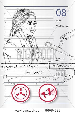 Sketch On Business Interview