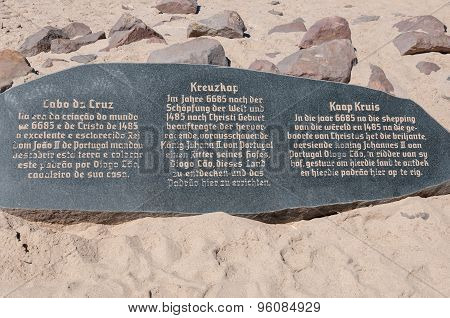 Memorial Stone For Diogo Cao At Cape Cross