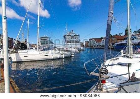 Pier With Boats And Ships In Stavanger, Norway