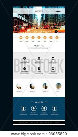 One Page Website Template with Street View of New York City Header Design