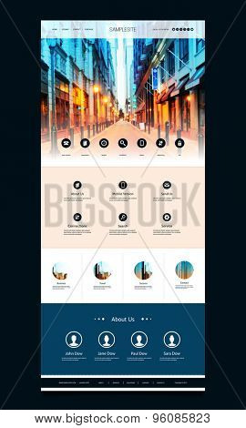 One Page Website Template with Street View of Philadelphia Header Design