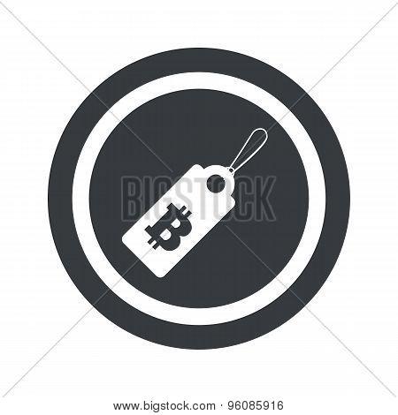 Round black bitcoin price sign