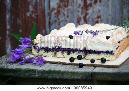 Sponge cake with blueberries